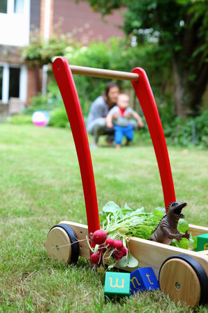 woman hanging toy: Mother and child with push cart and toys in garden LANG_EVOIMAGES