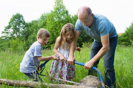 Otec a dvě děti se učí používat pila LANG_EVOIMAGES