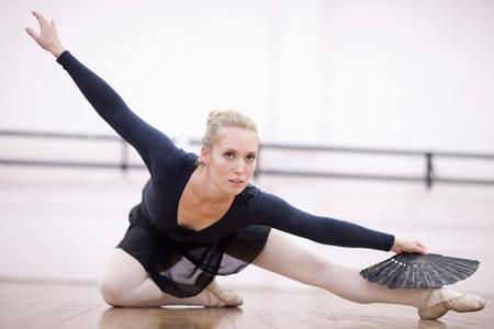 panty hose: Female ballerina practicing on the floor