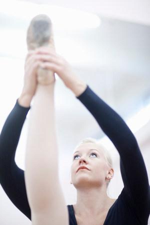 panty hose: Female ballerina stretching