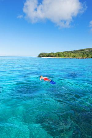 Man snorkelling,Drawaqa Island,Yasawa island group,Fiji,South Pacific