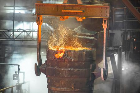 energy work: Industrial molten bucket in steel foundry LANG_EVOIMAGES