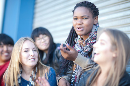 negative area: Group of teenagers having fun