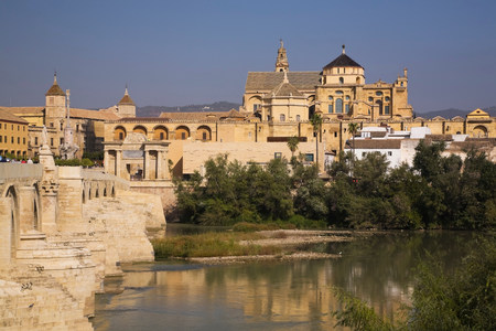Roman bridge and the mosque at Cordoba,Spain
