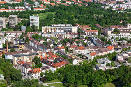 towerblock: Aerial view of residential houses in Munich from Olympiaturm (Olympic Tower),Munich,Bavaria,Germany