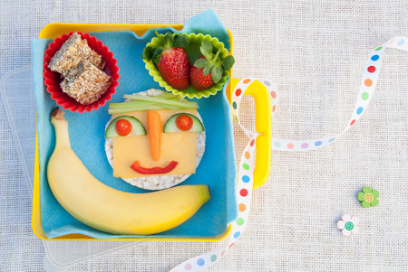 Healthy food products made into smiley face