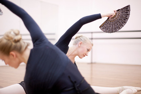 panty hose: Ballerinas in symmetrical floor pose