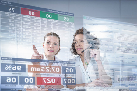 digitally generated image: Customer service operators looking at interactive screen LANG_EVOIMAGES