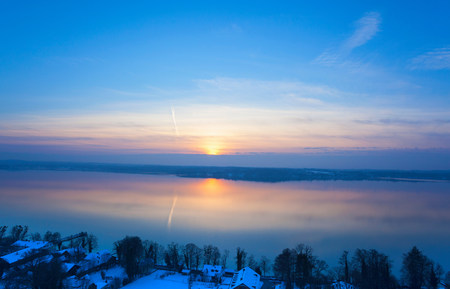 Winter view of Lake Starnberg,Bavaria,Germany
