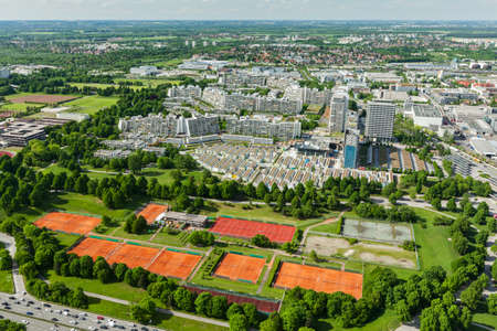 towerblock: Aerial view of Munich from Olympiaturm (Olympic Tower),Munich,Bavaria,Germany