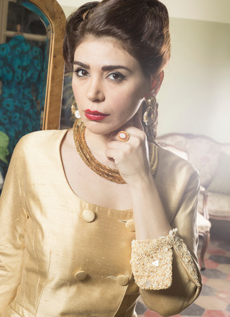 chic woman: Close up of woman in vintage clothes