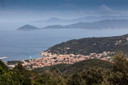 livorno: Distant view of  Marciana town,Elba Island,Italy LANG_EVOIMAGES