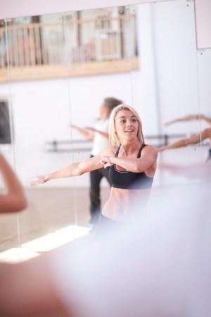 energy work: Females enjoying aerobic class