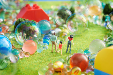 pretending: Figurines pretend grass with marbles