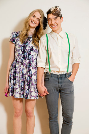 trouser: Portrait of young couple holding hands