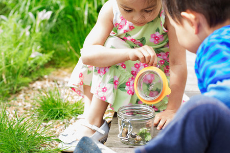Girl and boy in garden watching jar of snails