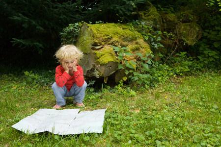 A boy with a map