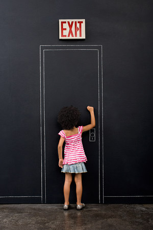age 5: Girl knocking door