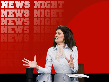 chic woman: News presenter shouting LANG_EVOIMAGES