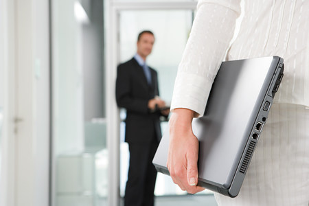 30 years old man: Office worker with laptop