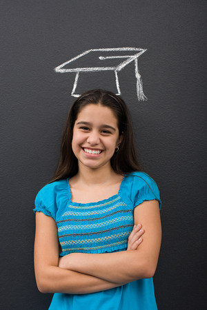 looking at viewer: Portrait of a girl and a chalk mortar board