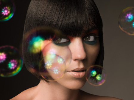 headshots: Young woman and bubbles