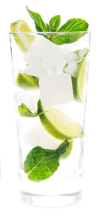 Mint and lime in a drink