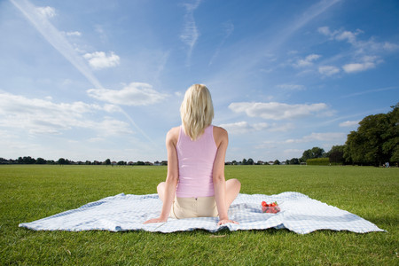 Young woman on blanket in park LANG_EVOIMAGES