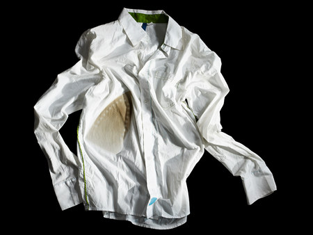 bad condition: A crumpled burned white shirt