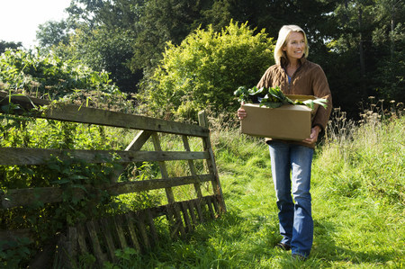 farmyards: Woman holding box of veg LANG_EVOIMAGES