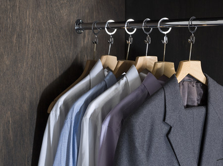 coathangers: Shirts and suits in a closet