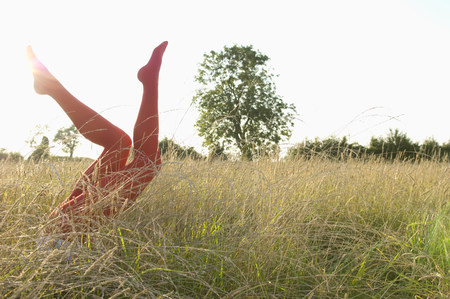 panty hose: Legs of woman in a field LANG_EVOIMAGES