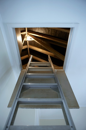 lit image: Ladder leading up to the loft LANG_EVOIMAGES