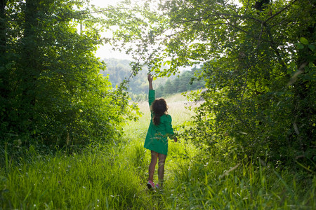 quizzical: A girl trying to reach for a branch on a tree LANG_EVOIMAGES