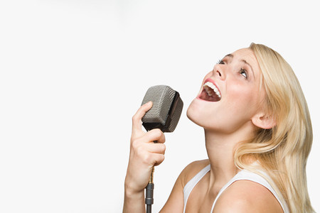 A young woman singing