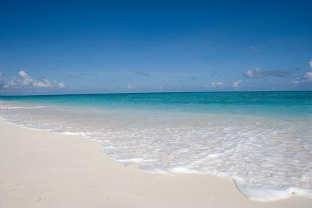 Waves on sandy beach.