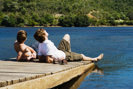 16 to 17 year olds: Friends on a jetty