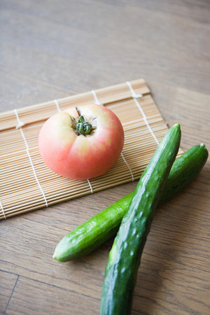 A beef tomato and cucumbers