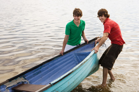 Friends with rowboat