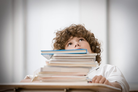 heap of role: Boy with stack of books LANG_EVOIMAGES
