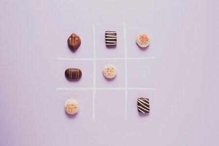 cropped shot: Chocolates on grid