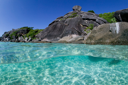 Clear water and island.