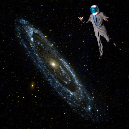 new age: Businessman in outer space