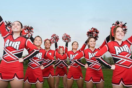 compete: Cheerleaders performing routine