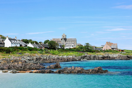 Coast of iona with view of abbey