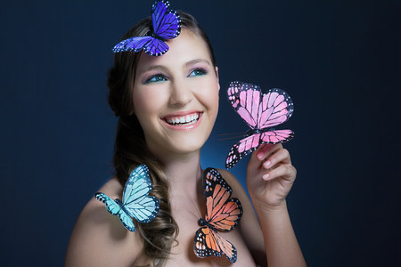four objects: Girl with butterflies