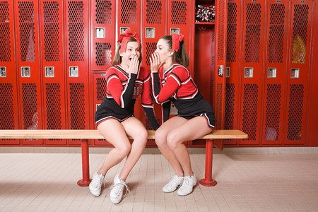 black cheerleader: Cheerleaders gossiping in locker room