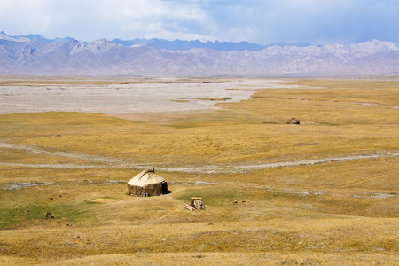 parched: Yurt in farmland in kyrgyzstan