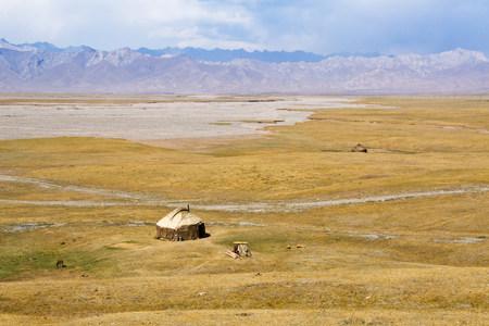 even: Yurt in farmland in kyrgyzstan