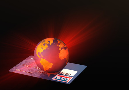 Light coming from globe on credit card LANG_EVOIMAGES
